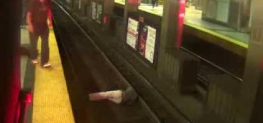 Homem embriagado cai na linha de Metro