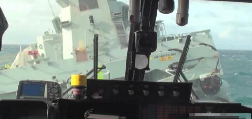 Aterrar um helicóptero em alto mar