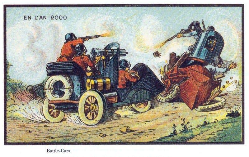 Carros de batalha - A vida no ano 2000 imaginada cem anos antes
