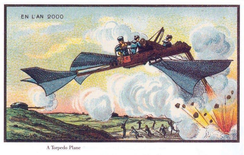 Combate aéreo - A vida no ano 2000 imaginada cem anos antes