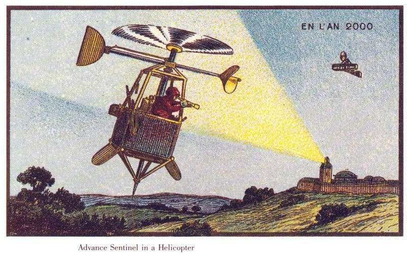Sentinelas aéreas - A vida no ano 2000 imaginada cem anos antes